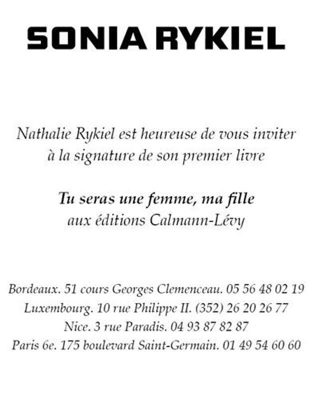 Exclu : Nathalie Rykiel vous invite à la dédicace de son livre