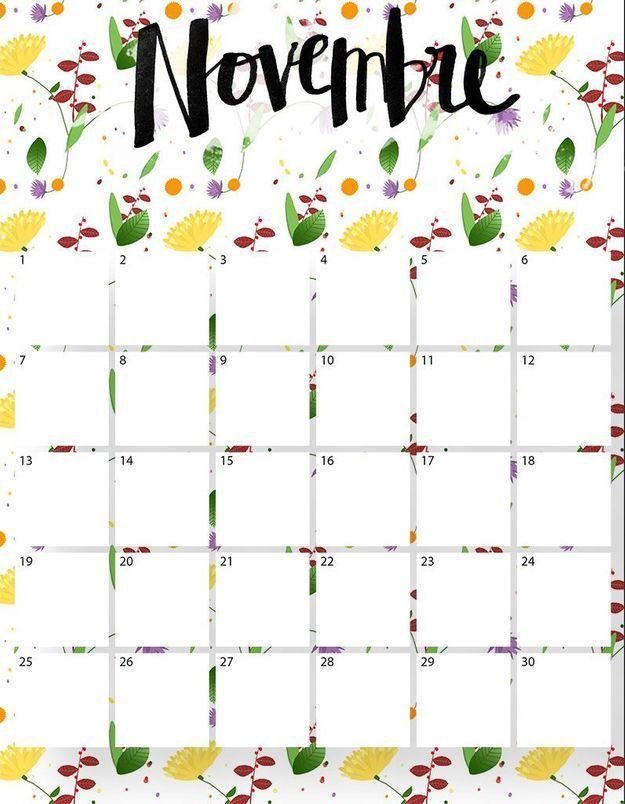 Imprimez votre calendrier du mois de novembre !