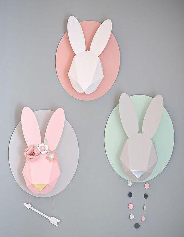 Trophée tête de lapin en origami