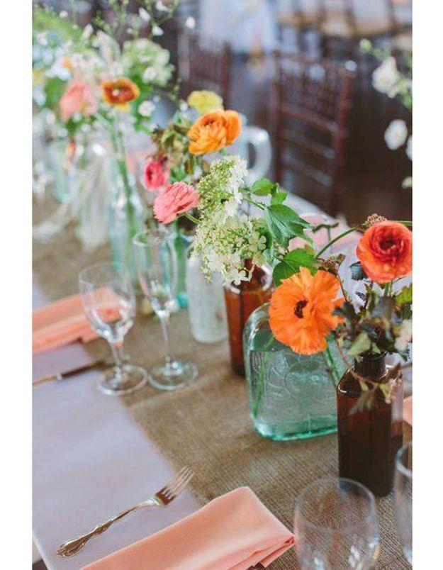Centre de table mariage fleurs