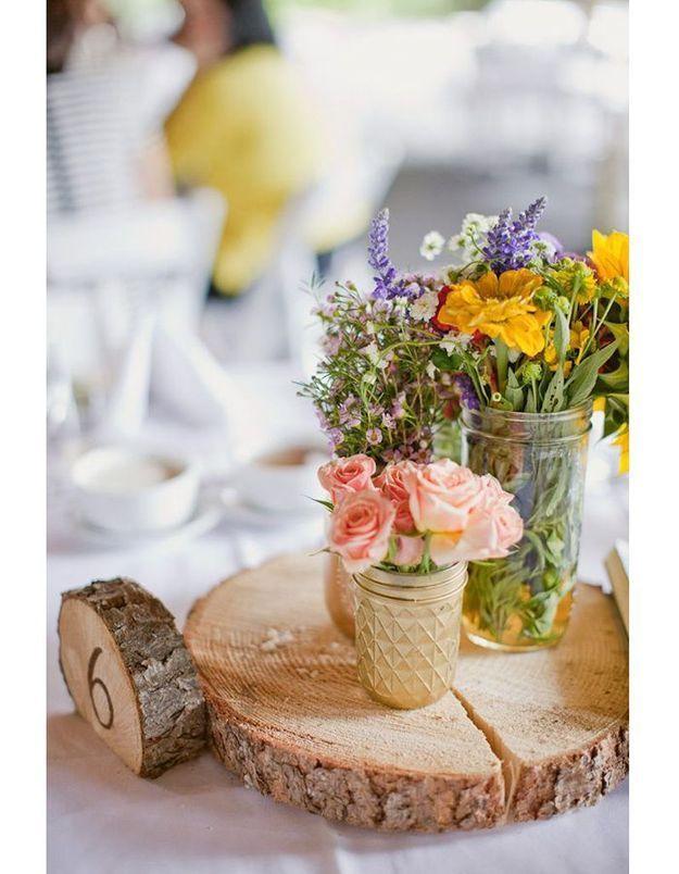 Centre de table rondin de bois