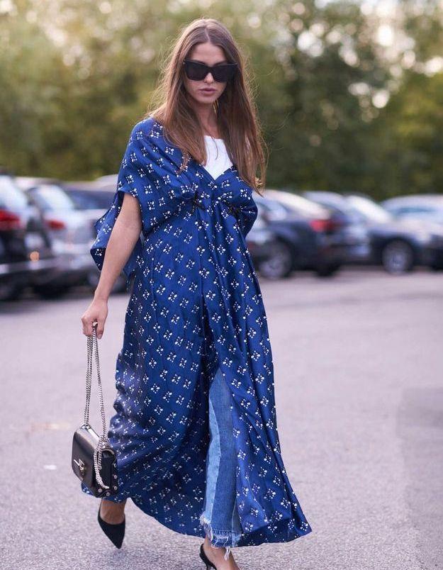 Une robe longue + un jean bicolore