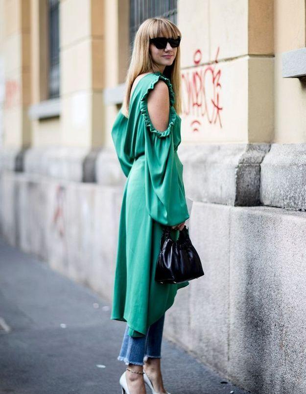 Une robe du soir + un jean brut
