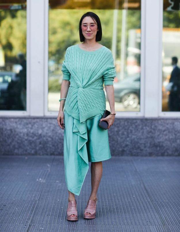 Une robe asymétrique + des ballerines