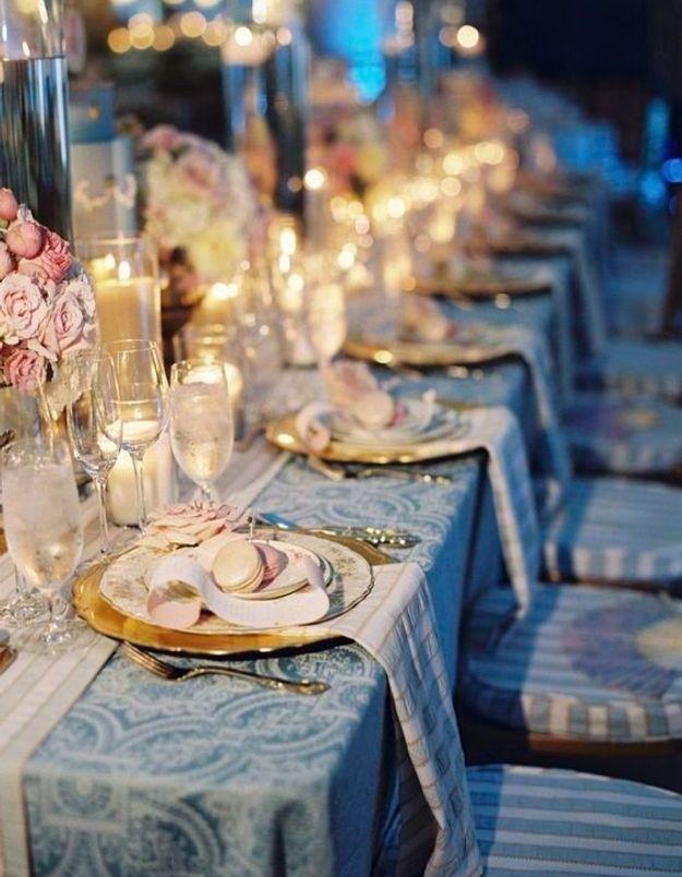 Décoration de table de mariage baroque