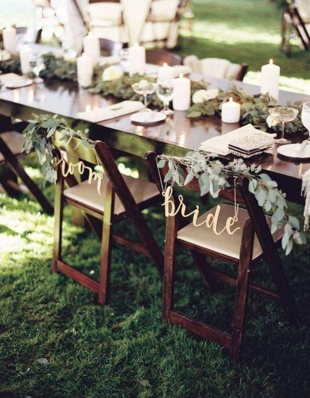 Chaise de mariage calligraphié