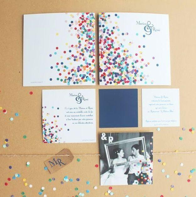 Confettis pour les faire-part de mariage