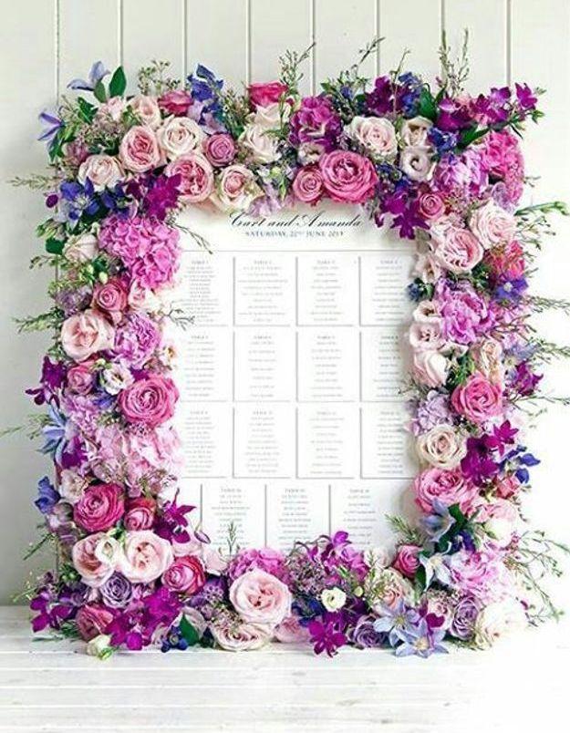 Plan de table cadre fleuri