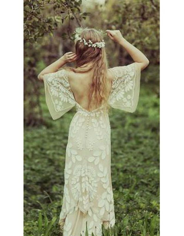 Robe de mariée vintage dentelle dos nu