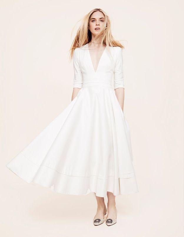Robe de mariée en satin Delphine Manivet au Printemps