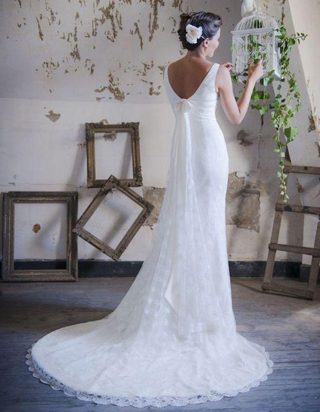 Robe de mariée de princesse à noeud dans le dos