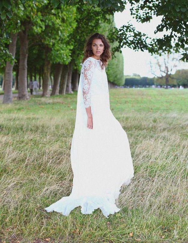 Robe de mariée de princesse avec manches en dentelle