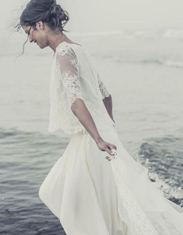 Robe de mariée de princesse dentelle de calais