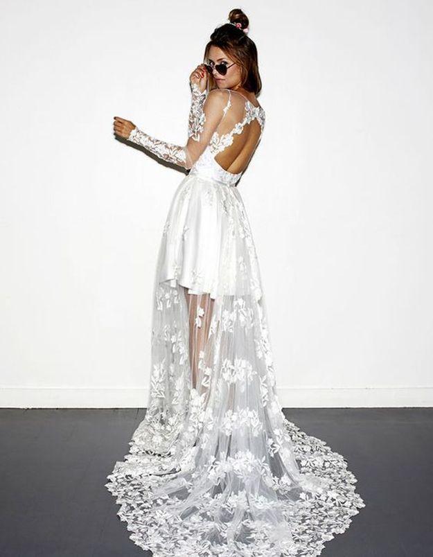 Robe de mariée de princesse fleurie