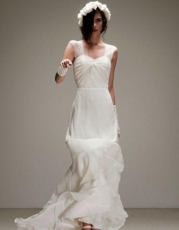 Robe de mariée de princesse froncée