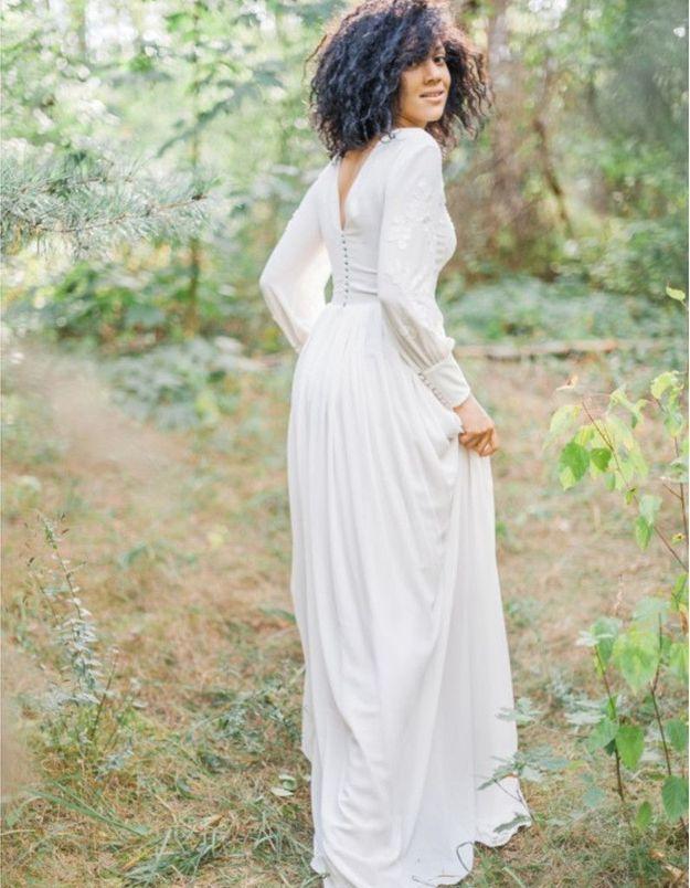 Robe de mariée d'hiver à manches longues