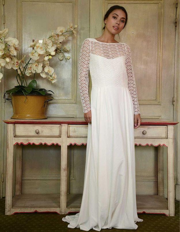 Robe de mariée d'hiver bi-matière