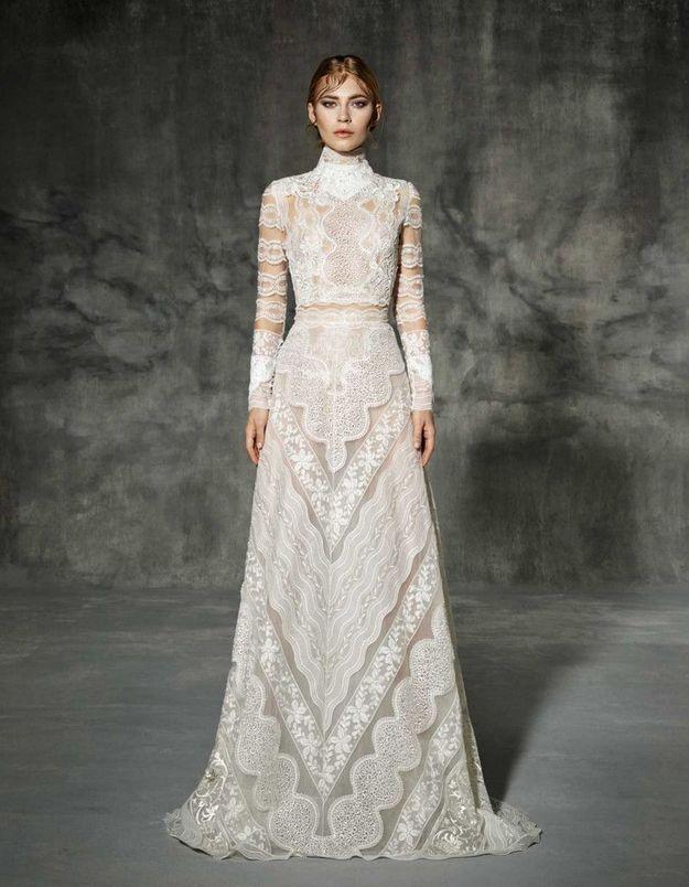Robe de mariée d'hiver en dentelle