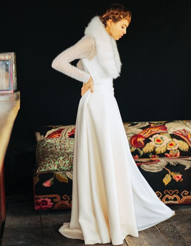 Robe de mariée d'hiver fourrure