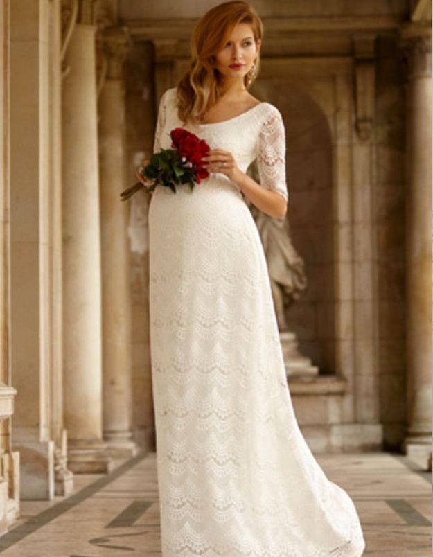Robe de mariée d'hiver pour femme enceinte