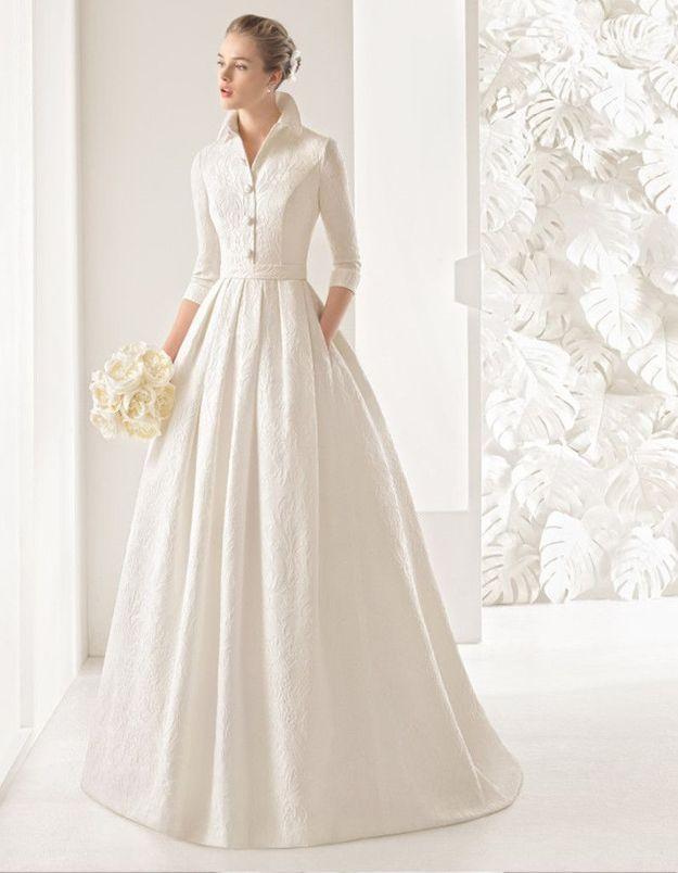 Robe de mariée d'hiver rétro