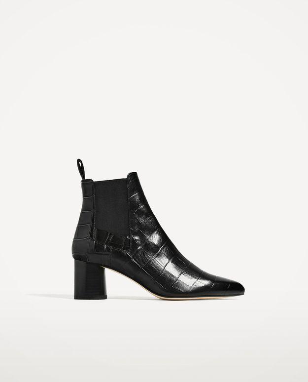 Bottines à talons en cuir noir Zara