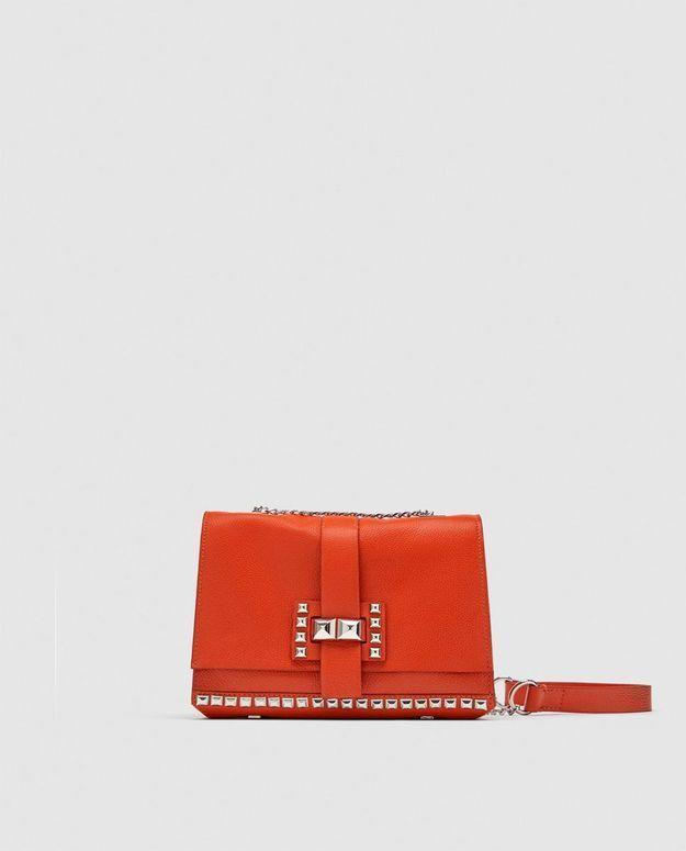 Sac en cuir rouge Zara
