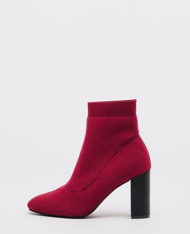Bottines rouge façon chaussettes Pimkie