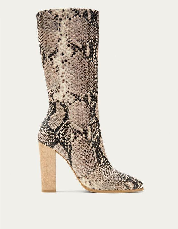 Chaussures sexy bottes imprimées python Massimo Dutti