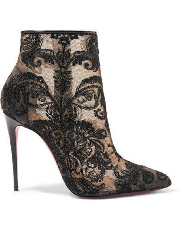 Chaussures sexy bottines en dentelle guipure Christian Louboutin