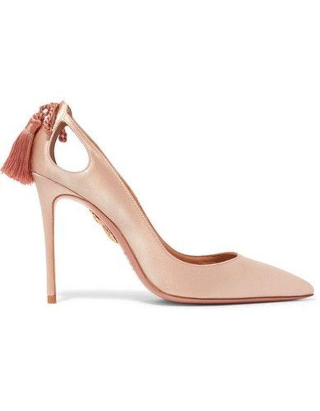 Chaussures sexy escarpins en satin à houppes Aquazzura