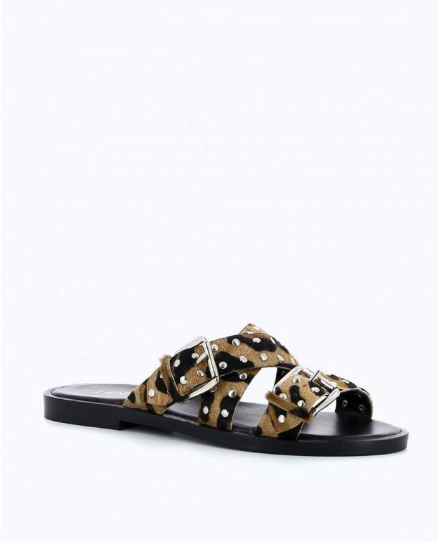 Sandales plates Texto