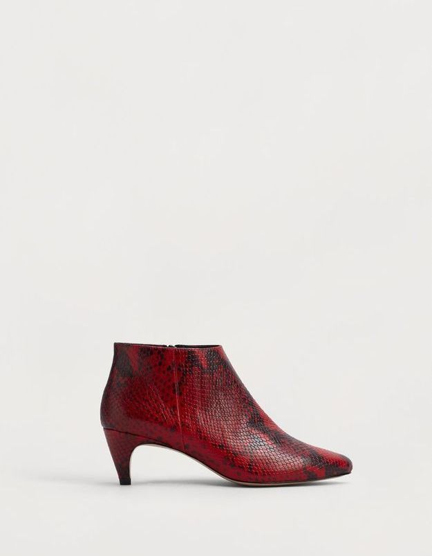 Bottines rouges façon serpent Mango
