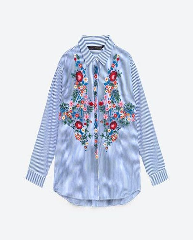 Chemise à rayures brodée Zara