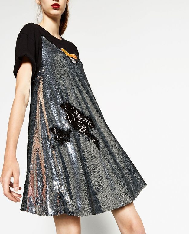 Slip dress à paillettes Zara