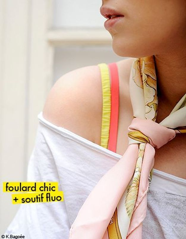 foulard chic + soutif fluo
