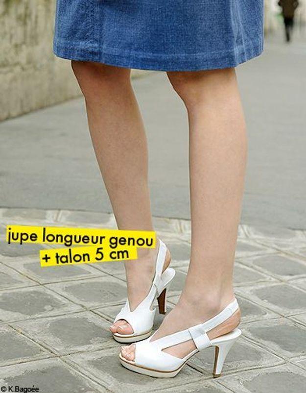 jupe longueur genou + talon 5 cm