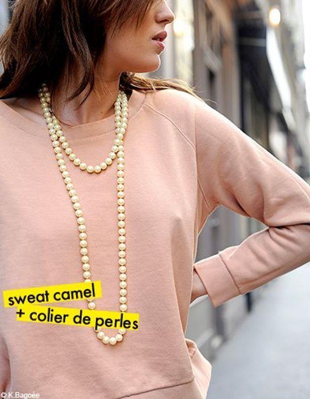 sweat camel + collier de perles