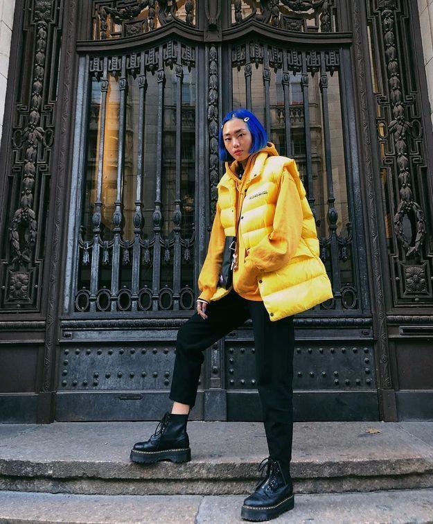 La doudoune jaune de Kicki