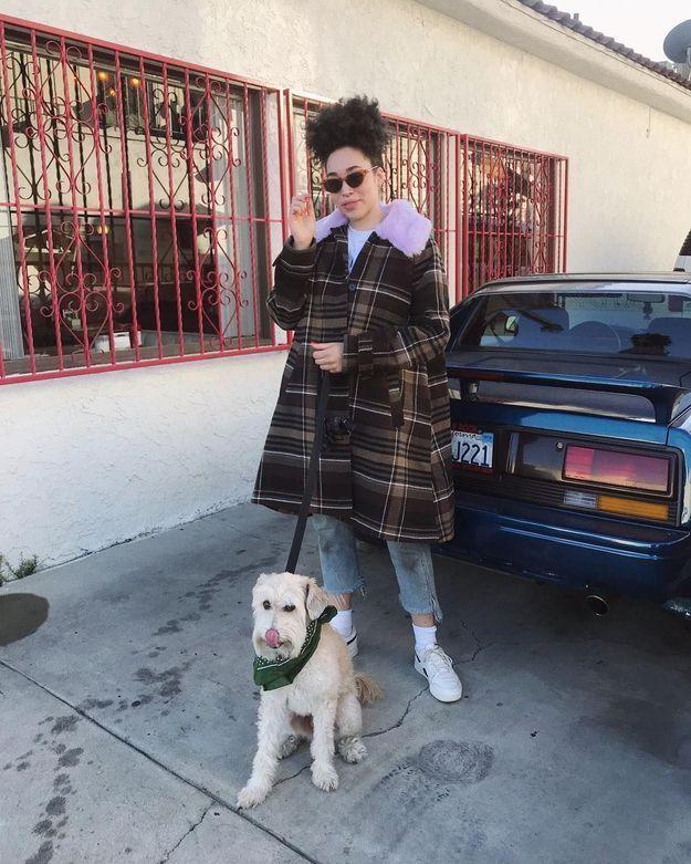 Le duffle coat à carreaux de Hannah