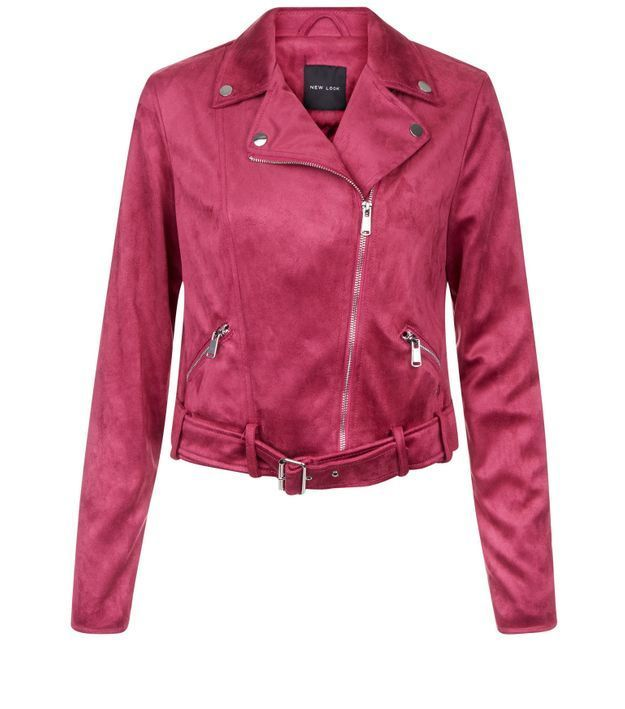 Veste rose vif en suédine New Look
