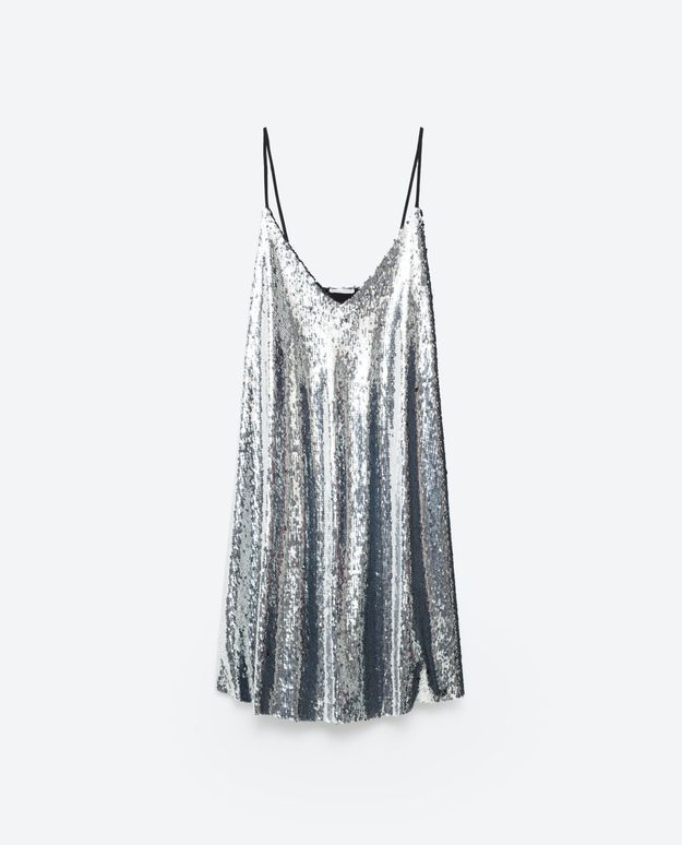 Slip dress à sequins argent Zara