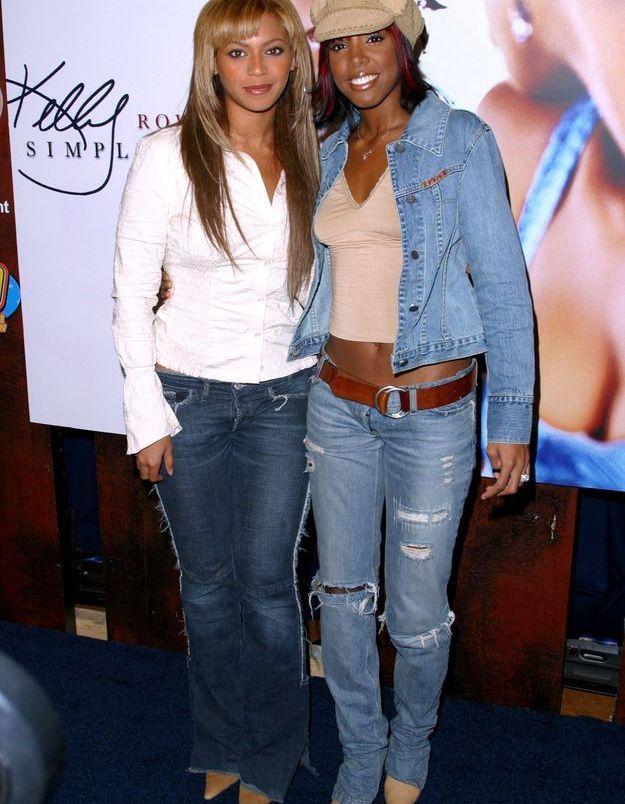 Kelly Rowland et Beyoncé, adeptes des chaussures à bouts pointus sur pantalon pattes d'ef'