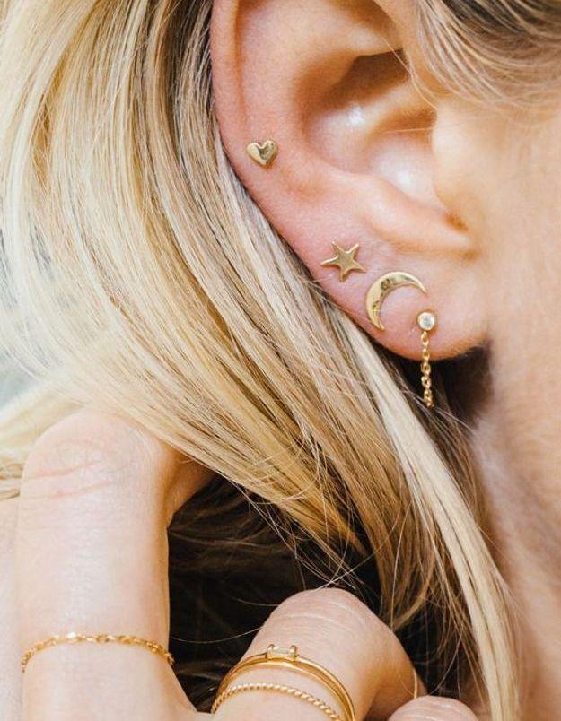 Piercing oreille cœur