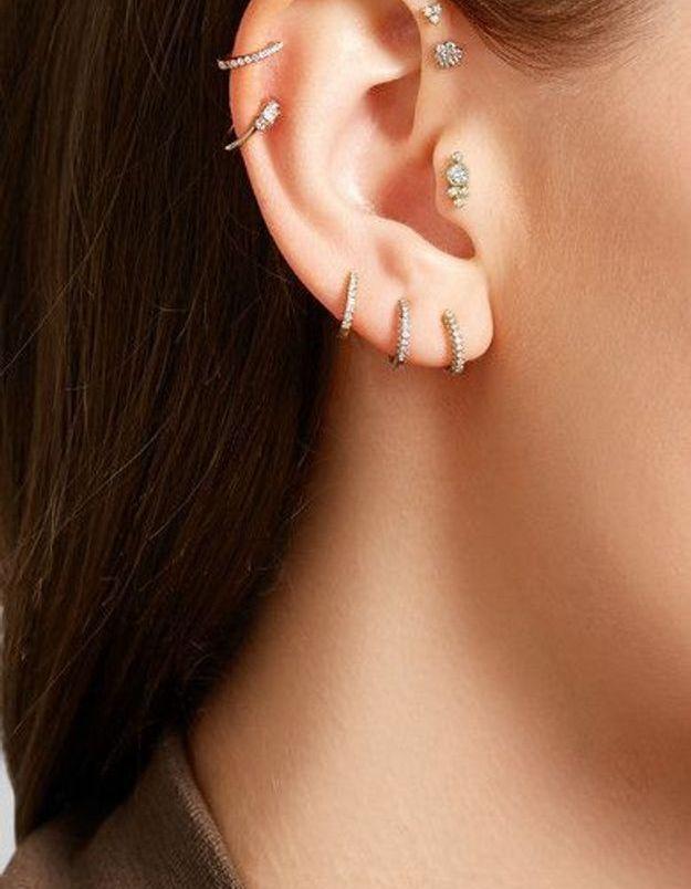 Piercing oreille diamant