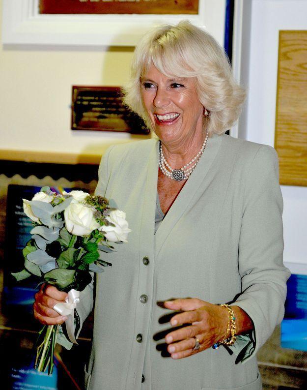 Camilla en septembre 2014, lors de la visite de la Lache Primary School