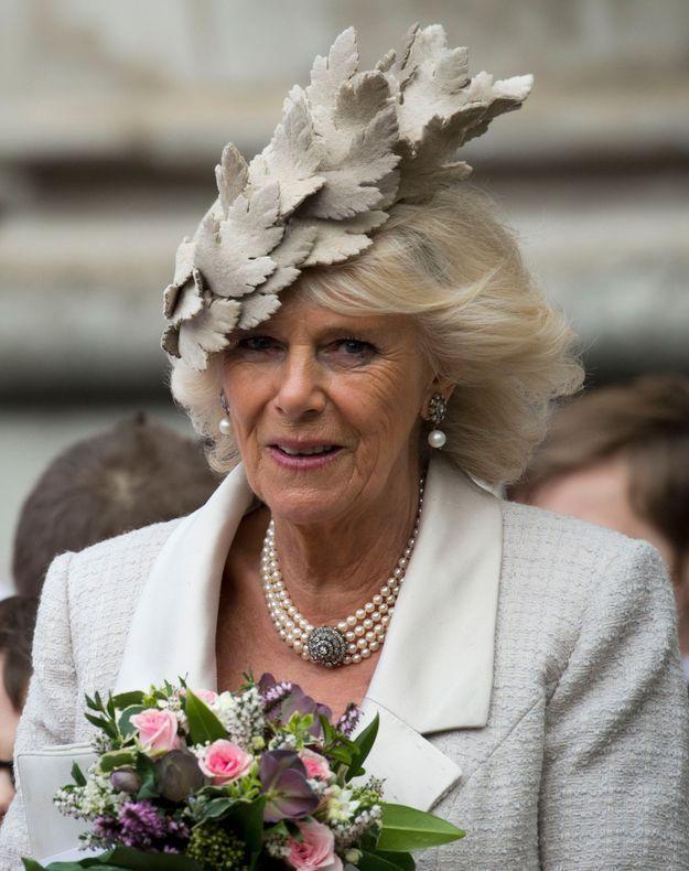 Camilla et sa parure en mars 2014 à l'Abbaye de Westminster