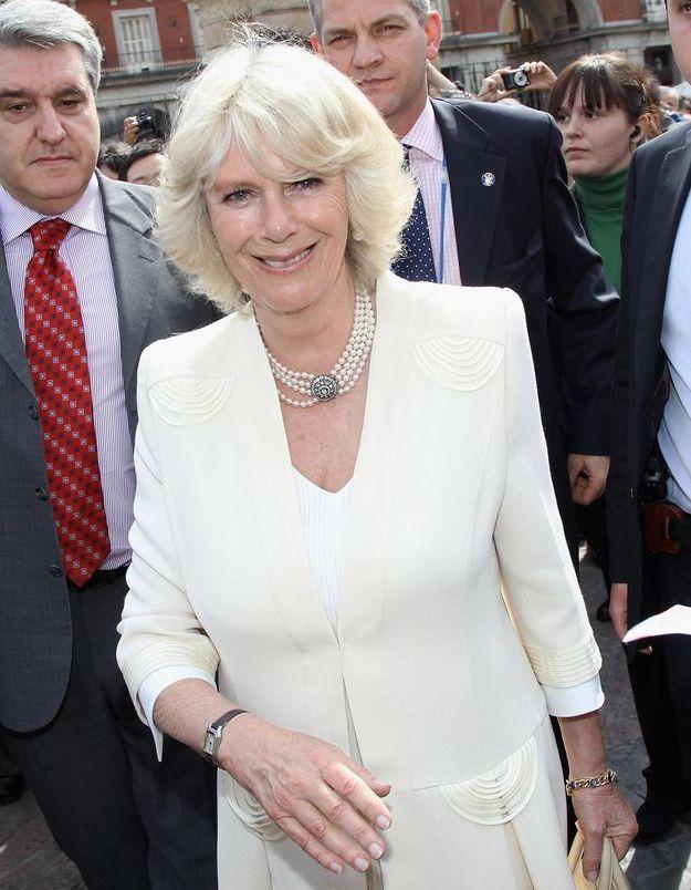 Camilla Parker-Bowles, en mars 2011 lors de la visite du marché de San Miguel à Madrid