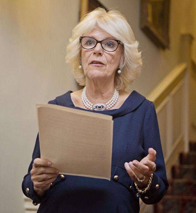 Camilla Parker-Bowles en octobre 2014, lors d'une réception à Clarence House