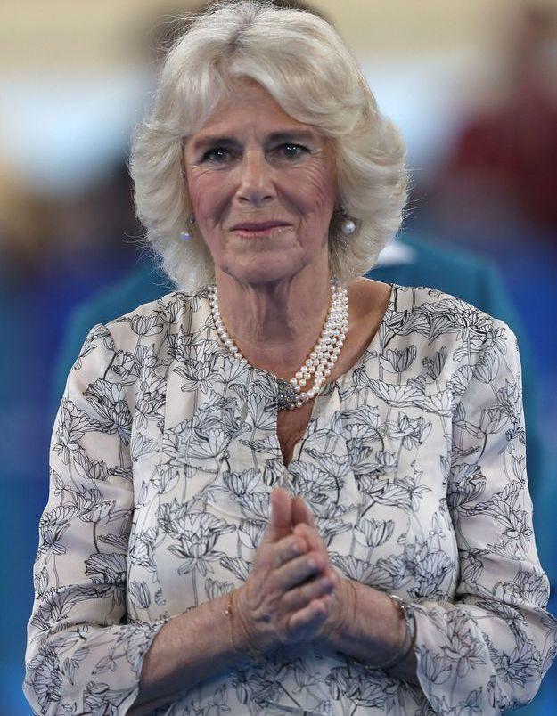 Camilla Parker et ses bijoux en avril 2018, au Sleeman Sports Complex de Brisbane